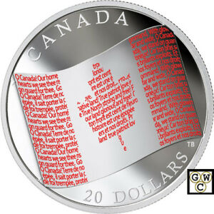 2018 'Canadian Flag' Colorized Proof $20 Silver Coin 1oz .9999 Fine (18543) (NT)