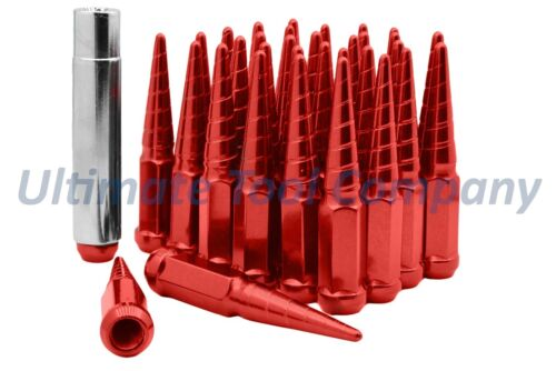 "20x Red Twisted Solid 4.5/"" Steel Lug Nuts with Socket Key2015 Mustang GT 5.0"