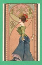EARLY VINTAGE ARPARD BASCH ART NOUVEAU POSTCARD BEAUTIFUL FASHIONABLE LADY