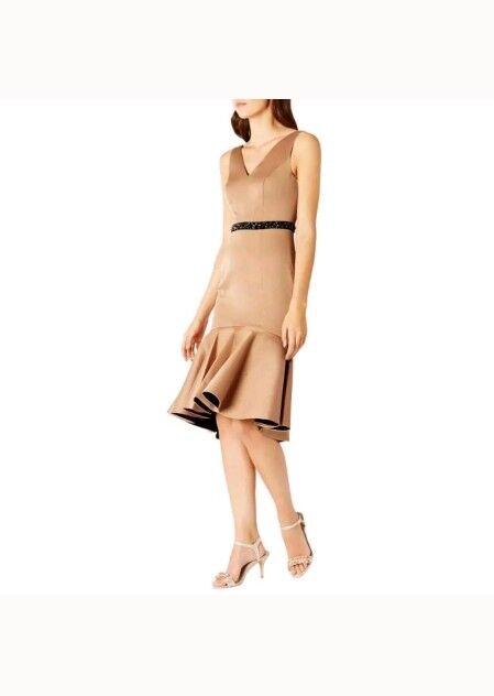 COAST RYANNA PEPLUM HEM SATIN DUTCHES CARAMEL DRESS DRESS DRESS SIZE 10 NEW 59510b