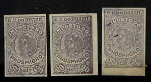 Brazil-3-Older-Phoshoro-Revenue-Stamps-Mint-No-Gum-Used-S2501