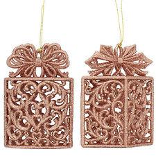 11.5cm Christmas Copper Glitter Gift Box Hanging Tree Ornament Decoration
