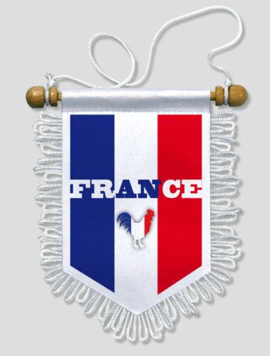 FANION VOITURE FRANCE COQ TRICOLORE 2-13 X 15 CM BLASON ECUSSON FOOT RUGBY