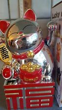 """8.2"""" Large Silver colour Chinese Lucky Cat Waving Moving Arm new 21 cm"""
