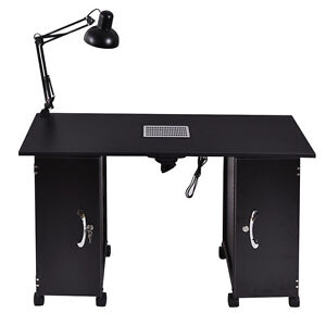 Manicure nail table station black steel frame beauty spa for Beauty salon manicure tables