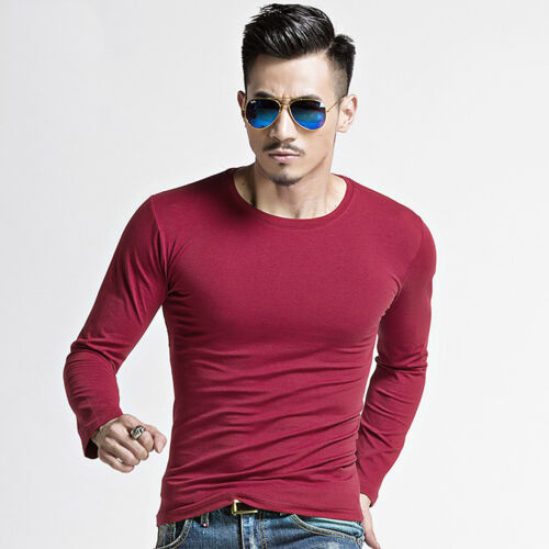 Fashion Men/'s Slim Fit V Neck Long Sleeve Muscle Tee T-shirt Casual Blouse Tops