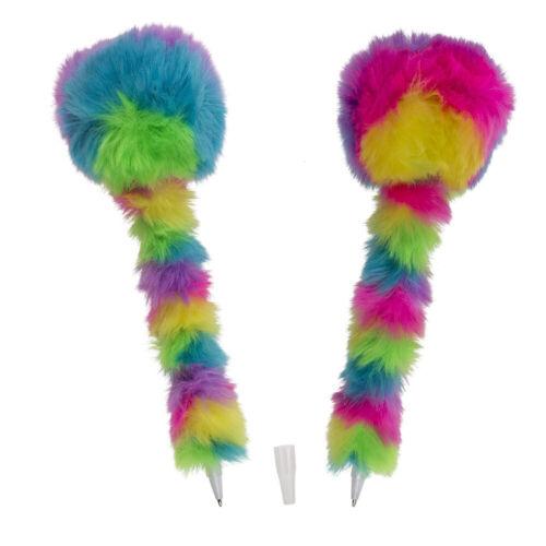 Plüsch Kugelschreiber in Regenbogen Farben Bunt weich Rainbow Pom Pom