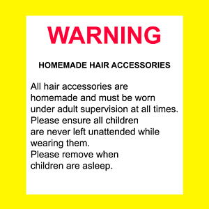 WARNING Homemade Hair Accessories Safety Stickers labels Top Quality 120