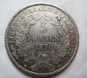 FRANCE-5-francs-1870-A-XF-Silver-Paris-Liberty