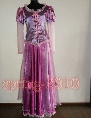 Disney movie game Tangled Rapunzel Anime Cosplay Costume purple dress