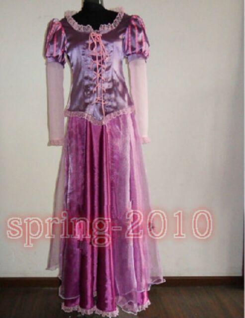 Disney movie game Tangled Rapunzel Anime Cosplay Costume purple dress