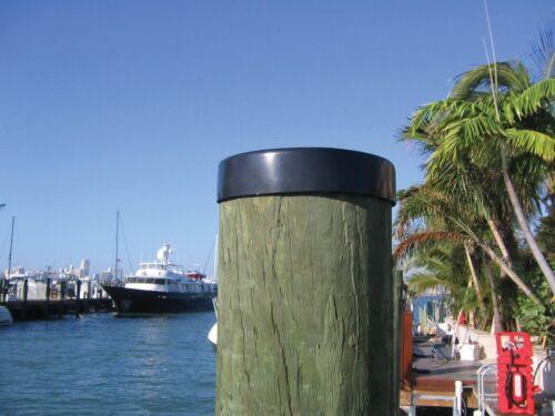 "Marine Dock 11/"" Piling Cone Cap Pylon Edge Post Head BLACK Cover FLAT Pilling"