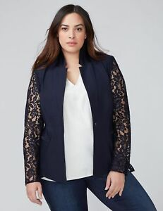 Lane Sz Size Night Sky Bryant The pizzo 14 Jacket Blazer New Manicotto Plus in RgwqfBUFB