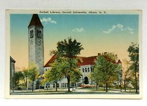 Ithaca-New-York-Cornell-University-Library-Vintage-Postcard