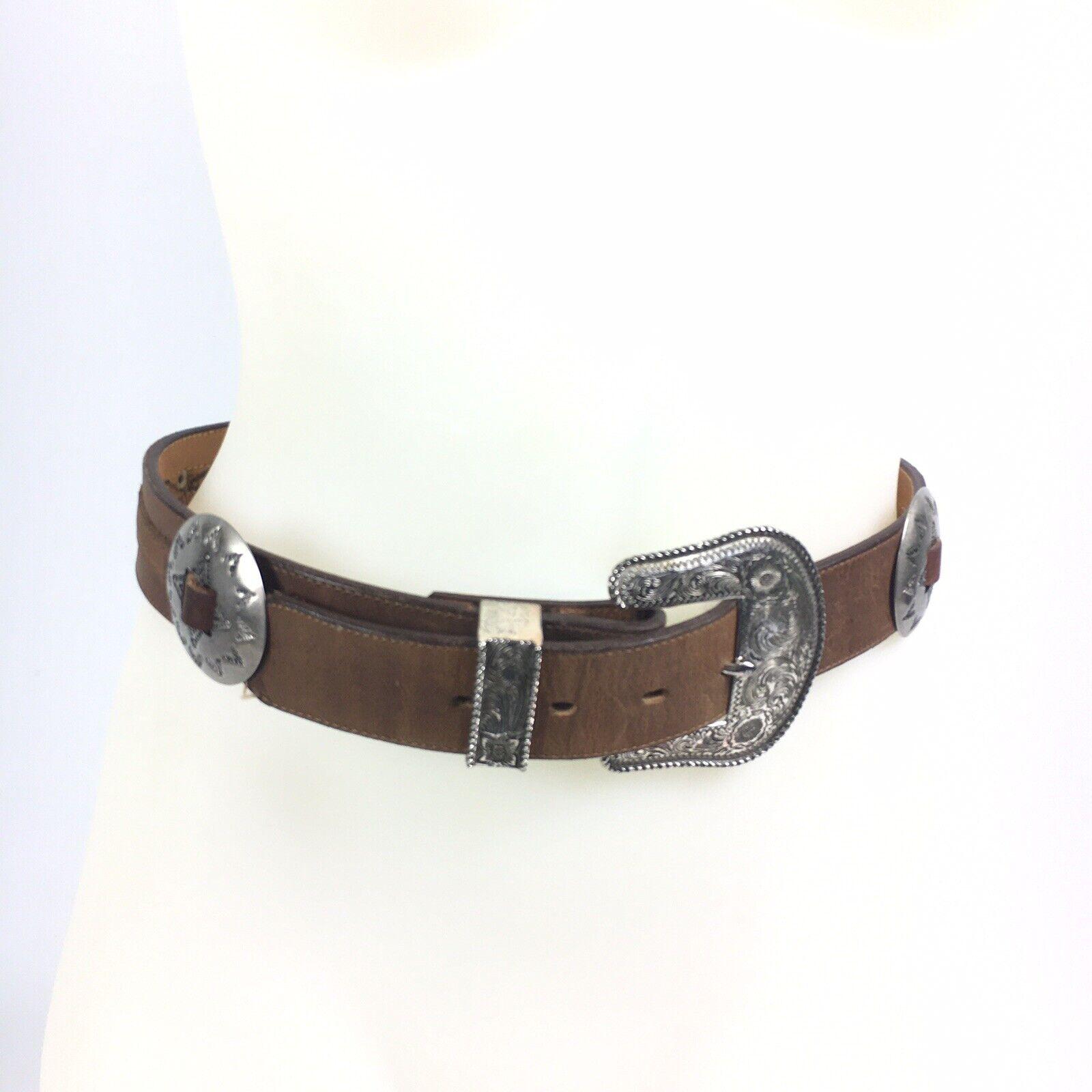 Cimarron Belt Co. Brown Leather Conchos Medallion Belt Size 28 Womens USA Boho