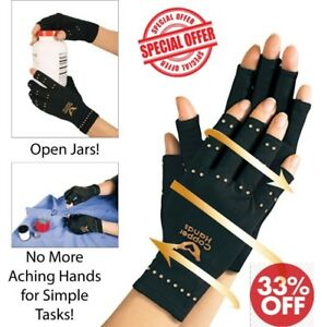 Arthritis-Gloves-Fingerless-Copper-Hands-Compression-Medical-Support-Therapeutic