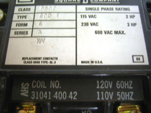 Square D NEMA 1 8502 SC01 AC Magnetic Contactor 1 Phase
