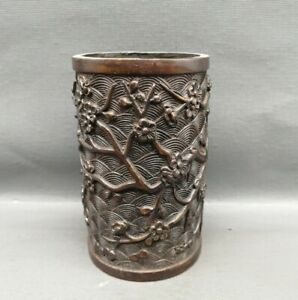 Collect Copper bronze Carved plum blossom Statue pen Brush Pot pencil vase