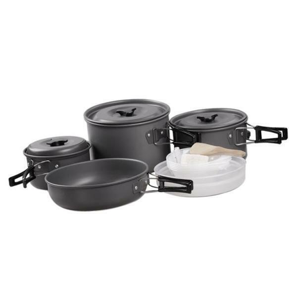 Utensilios de cocina de alúmina duro 14 un. Al Aire Libre Campamento Vajilla Pan Olla tazones de fuente kit de desastre