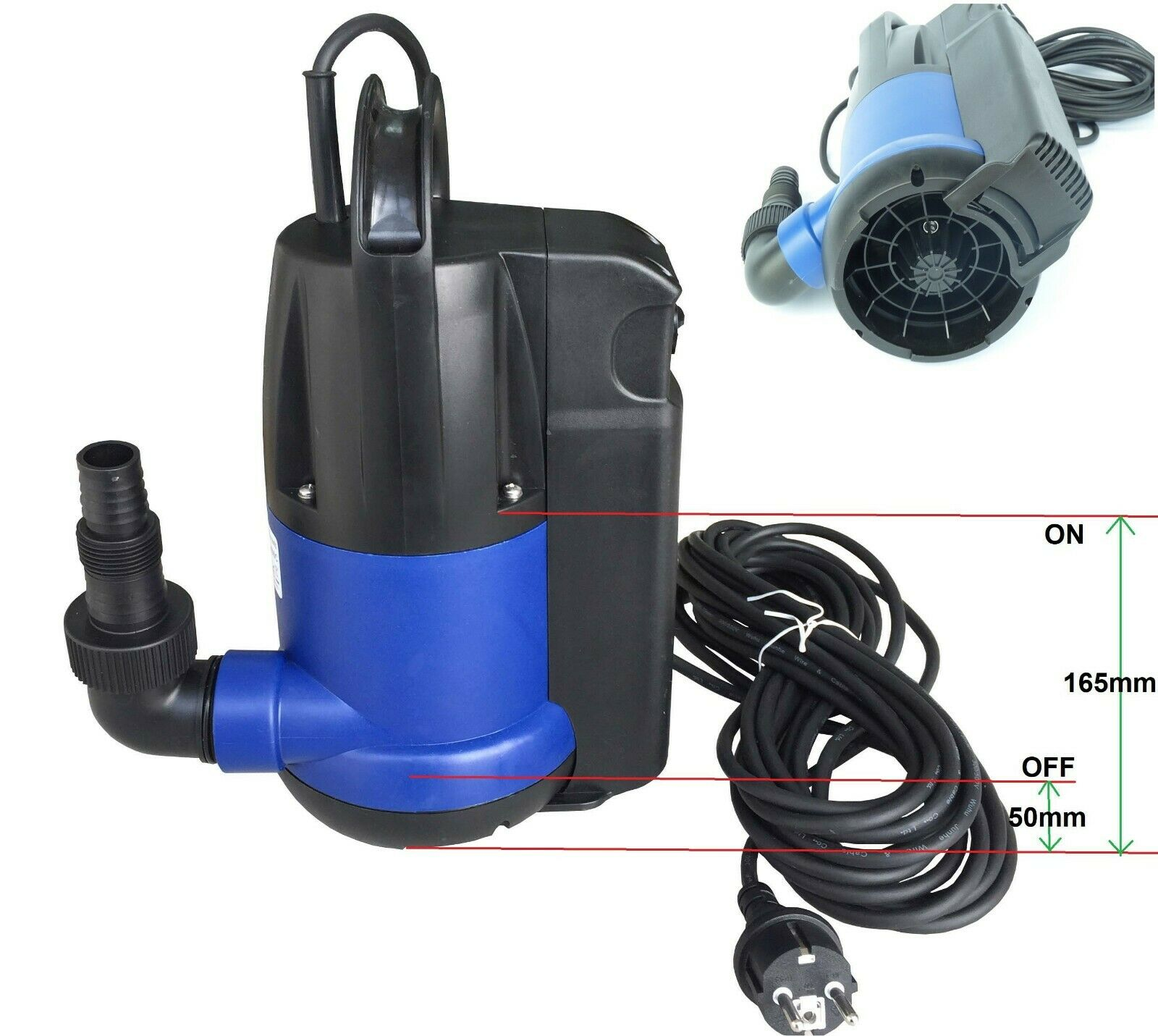 Chm GmbH  sumergible 400 vatios flachsaugpumpe con interruptor de flotador integrado