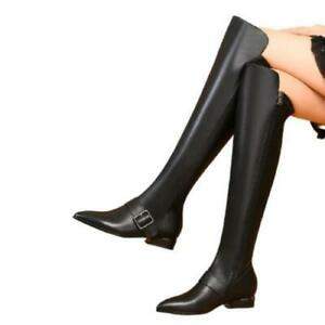 women pointy toe low heel leather over the knee high boots