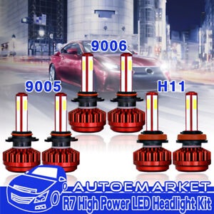 4 Sides 9005  9006  H11 Kit Combo High Low Beam LED Headlight Bulb + Fog Light