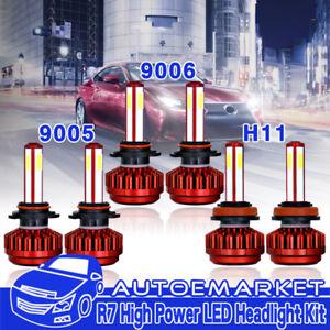 4 Sides 9005  9006  H11 Kit Combo High Low Beam LED Headlight Bulb + Fog Light