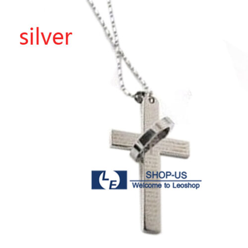 New Cross Pendant Necklace Chain With Bible Lord/'s Prayer in Spanish /& Halo Ring