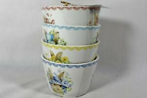 222 Fifth Easter Plaid Porcelain Appetizer Dessert Bowls Set of Four New