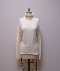 d993022de2 Image is loading CASHMERES-Ivory-Turtleneck-Pullover-Scottish-Cashmere- Sweater-Tunic-
