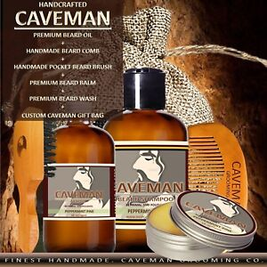 Caveman-Beard-Oil-Growth-Kit-Beard-Balm-Beard-Wash-Comb-Brush-18-Scents