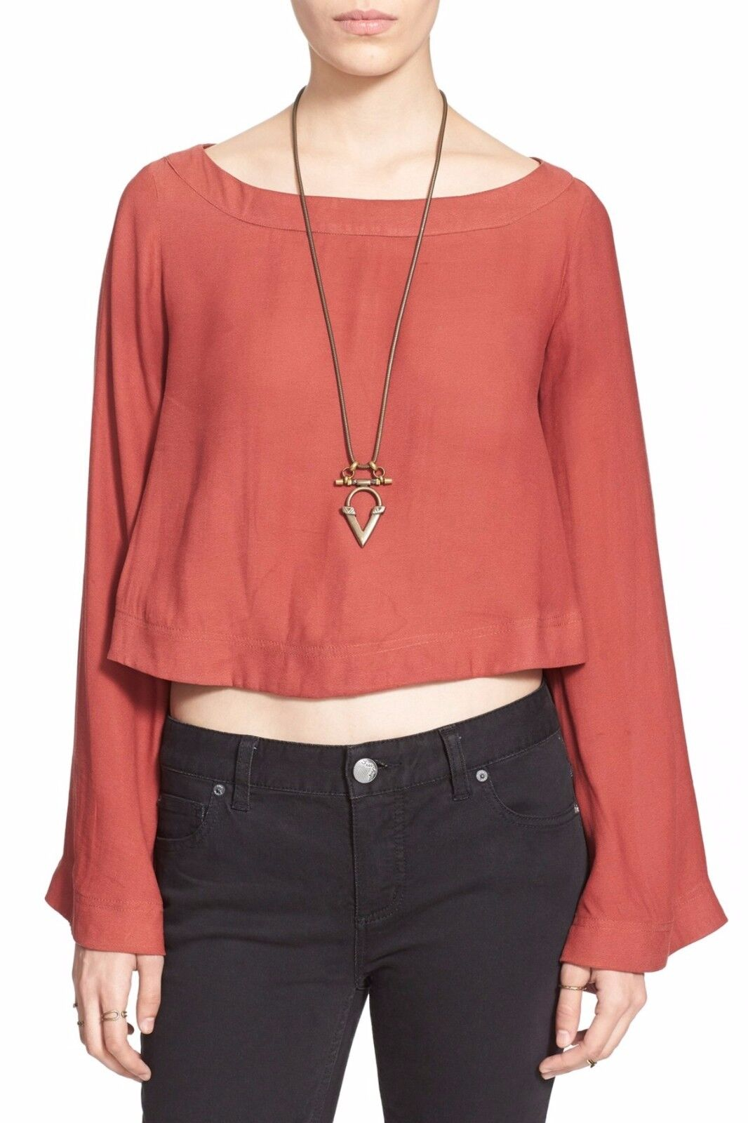 NWT FREE PEOPLE damen SzM STAR ALIGNED BELL SLEEVE CROP TOP BLOUSE rot CLAY