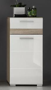 Details zu Bad Schrank Unterschrank in weiß Hochglanz und Eiche Kommode  Badezimmer SetOne