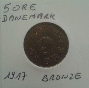 Monnaie-du-Danemark-5-Ore-1917-Bronze
