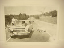 Vintage 1964 Car Wreck Photo NH Accident Scene Ford, Police Car in Photo SPP085