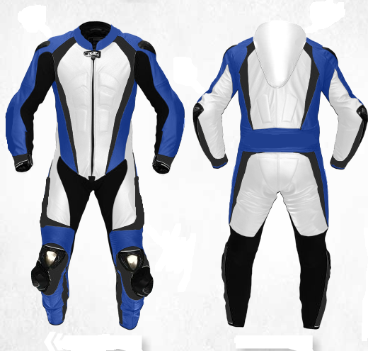 New  Herren Weiß Blau Motorcycle Racing Cowhide Leder 1/2 PC Suit Speed Hump