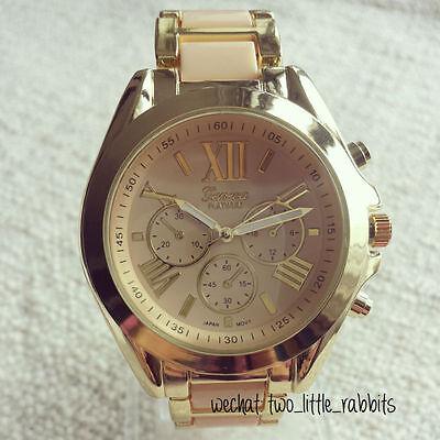 New Geneva Classic Luxury Women Stainless Steel Analog Quartz Analog Wrist Watch