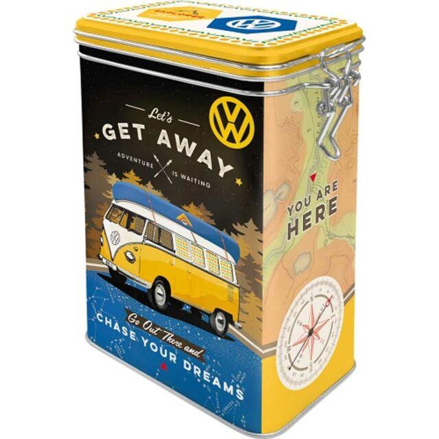 "Retro Clip Top Embossed Storage Tin VW KOMBI - LET""S GET AWAY 1.3Ltr Bulli Bus"