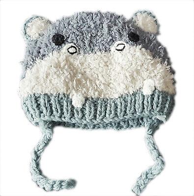 ZARA Boy Baby Toddler Vintage GREY IVORY Penguin Winter Trapper Pom Hat 6-12m