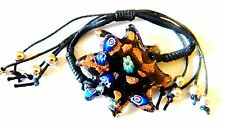 NWT MULTI  COLOR MURANO STAR GLASS WRAP COTTON CORD BRACELET ADJUSTABLE  CB3234