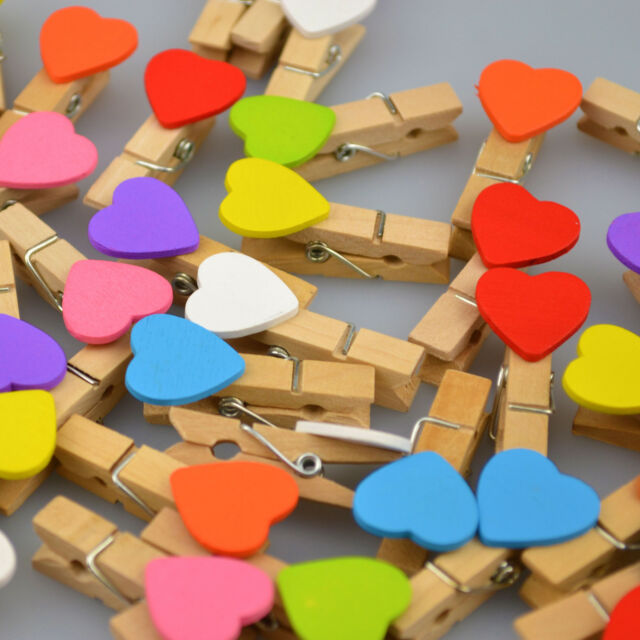 Mini Love Heart Wooden Lucky Wedding Pegs Table Decoration Party Favour Romantic
