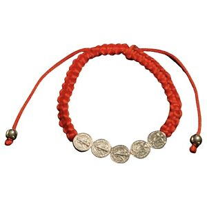 St Saint Benedict San Benito Red Cord Protection Bracelet