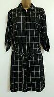NEW Plus Size 16-28 Grid Check Printed Shirt Dress Black White Smart Casual