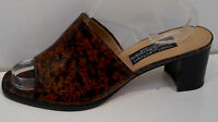 Stuart Weitzman Russell & Bromley Animal Print Slip On Block Heel Sandals Shoes