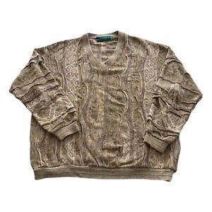VTG 90s tundra hellbraun COOGI 3d Texturiert Bill Cosby Biggie V Neck Pullover Herren XXL