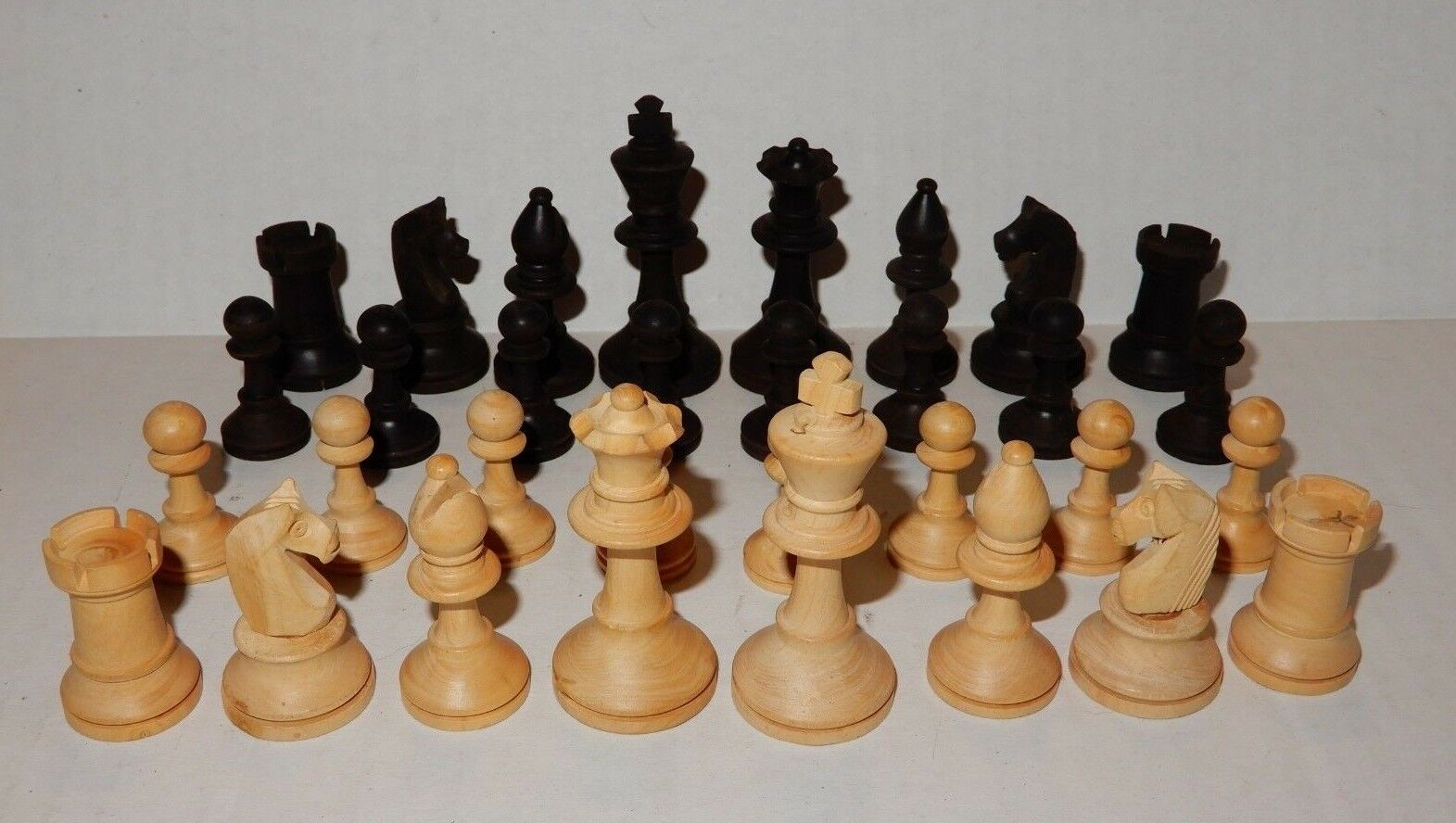 Vintage Wood Staunton Style Chess Set Pieces Box Marked Made In France