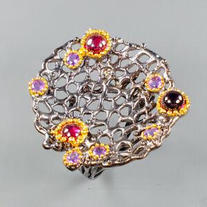 Handmade Natural Rhodolite 925 Sterling Silver Ring Size 7.75/R124032