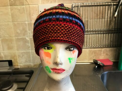 Alpaca blend Beanie Hat  Hippy festival Hand crafted in Peru  style 7.5