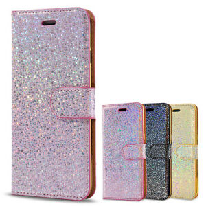 official photos 6f634 3d3a9 Details about For iPhone 6 7 8 X 5S Glitter Ultra-Thin Magnetic Leather  Flip Case Wallet Cover