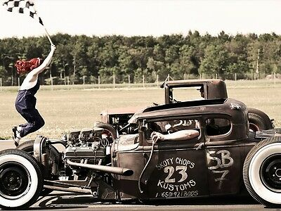 Hot Rod Race Jumping Girl With The Start Flag Wall Print POSTER